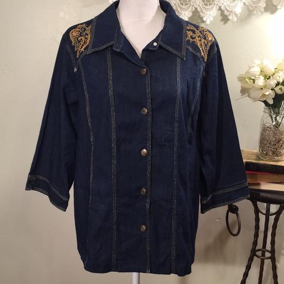 47ddf1c3ff6 Susan Graver Tops | Sale Denim Shirt Size 1x | Poshmark